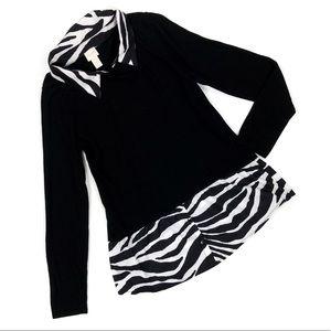 Chico's Animal Print Zebra 2 in 1 Sweater Shirt